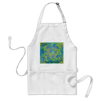 Modern yellow psychedelic on blue background adult apron