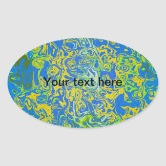 Modern yellow psychedelic on blue background oval sticker