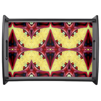 Modern Yellow Red Symmetrical Abstract Pattern Serving Tray