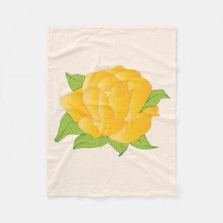 Modern Yellow Rose Fleece Blanket