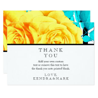 Modern Yellow Rose Stripes Thank You Cards