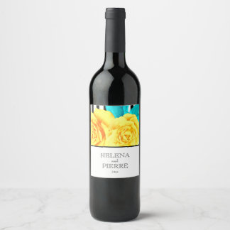Modern Yellow Rose & Stripes Wine Label