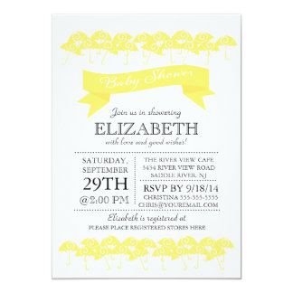 Modern Yellow Umbrella Neutral Baby Shower 13 Cm X 18 Cm Invitation Card