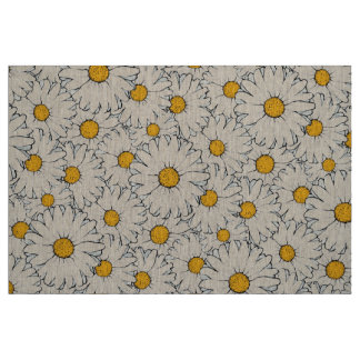 Modern Yellow White Daisy Floral Pattern Fabric