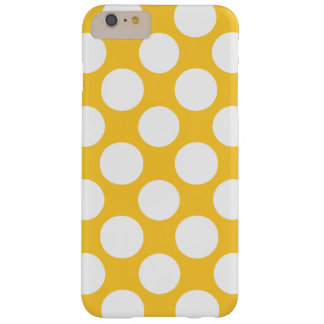 Modern Yellow White Polka Dots Pattern Barely There iPhone 6 Plus Case