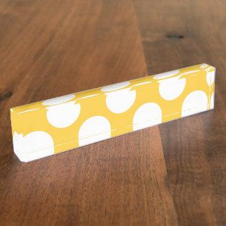 Modern Yellow White Polka Dots Pattern Nameplate
