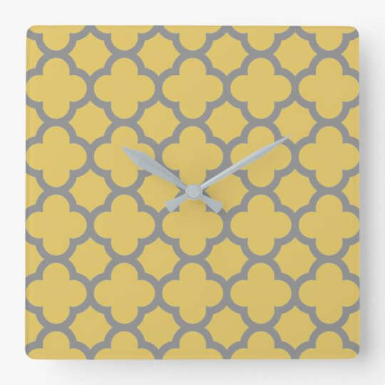 Modern Yellow with Grey Pattern Square Wall Clock