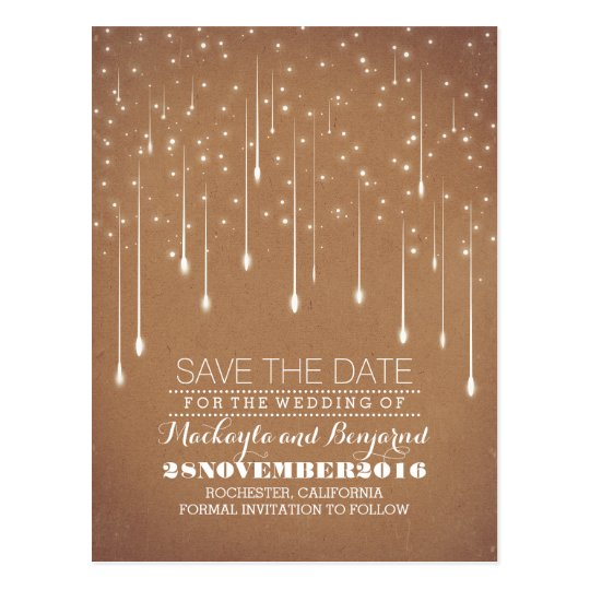 modern yet vintage string lights save the date