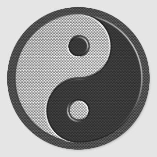 Modern Yin Yang in Carbon Fiber Print Style Round Sticker