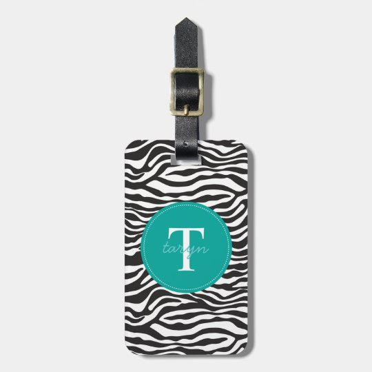 Modern Zebra Monogram Luggage Tag