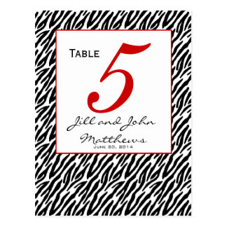 Modern Zebra Stripe Wedding Table Number Card