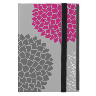 Modern Zen Flowers - Pink Gray iPad Mini Cover