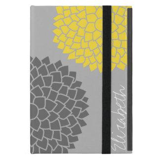 Modern Zen Flowers - Yellow Gray iPad Mini Covers