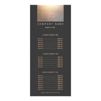 Modern Zen Glow 2 Black  Price List Menu Custom Rack Card
