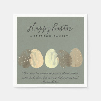 MODERN ZEN GREY WATERCOLOR EASTER EGGS PERSONALIZE PAPER NAPKIN