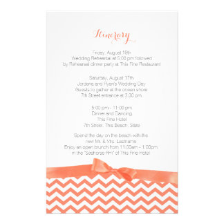 Modern Zig Zag Coral and Grey Itinerary Stationery