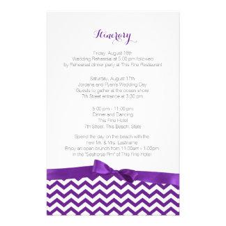 Modern Zig Zag Purple and Grey Itinerary Stationery