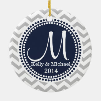Modern Zigzag and Dots Navy Blue Photo Frame Christmas Ornaments