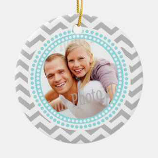 Modern Zigzag and Dots Photo Frame Ornament
