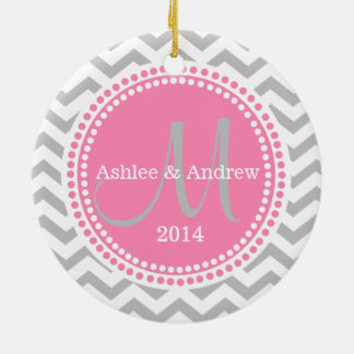 Modern Zigzag and Pink Dots Photo Frame Christmas Ornament