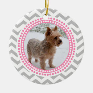 Modern Zigzag and Pink Dots Photo Frame Christmas Tree Ornaments