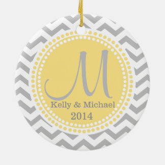 Modern Zigzag and Yellow Dots Photo Frame Christmas Ornaments