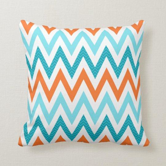 Modern ZigZag Chevron Orange Aqua Blue Pattern Cushion