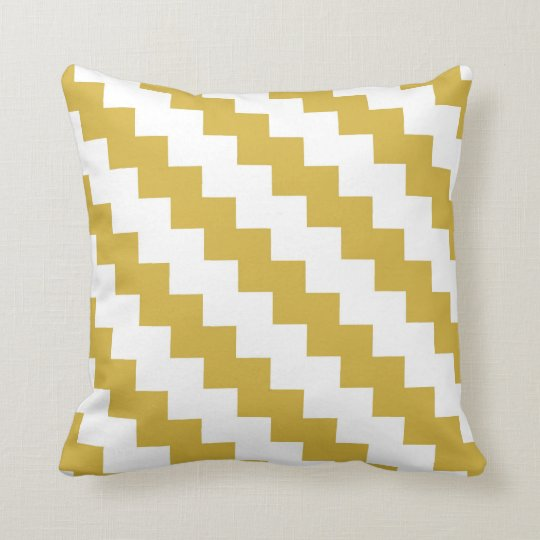 Modern Zigzag in Mustard and White Cushion