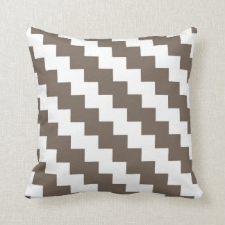 Modern Zigzag in Taupe and White Cushion