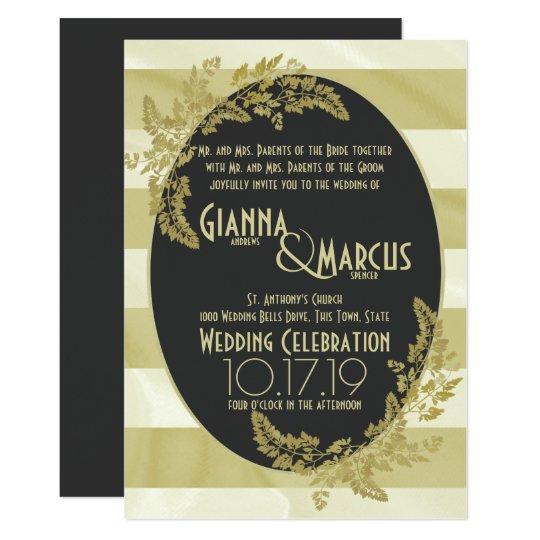 Moderne Stripe and Golden Leaf Wedding Card