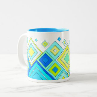 ModernRetro Diamonds Aqua Two-Tone Coffee Mug