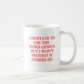 modest genius joke coffee mug