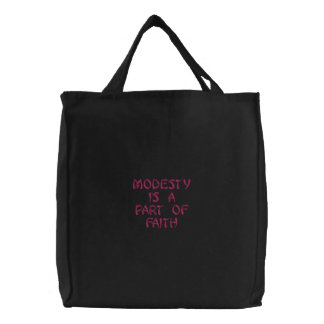 modesty is a part of faith embroidered tote bag