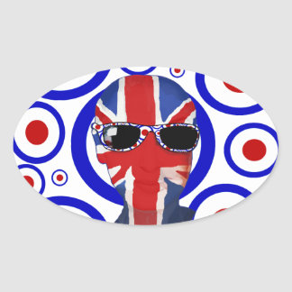 Modhead Retro sixties art Oval Stickers