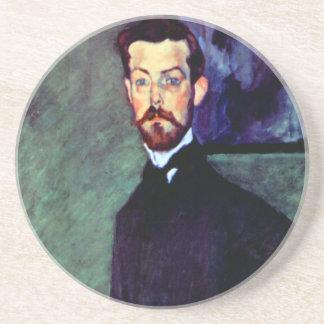 Modigliani art portrait painting Paul Alexanders Beverage Coaster