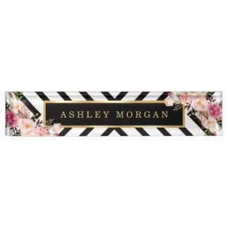 Modish Floral Gold Frame Black White Stripes Nameplate