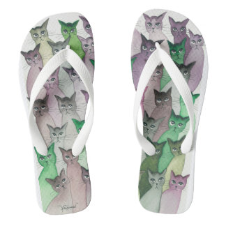 Modoc Many Whimsical Cats Flip Flops