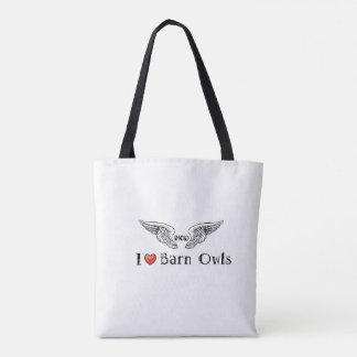 MODs Foundation I  Love (heart) Barn Owls Tote Bag