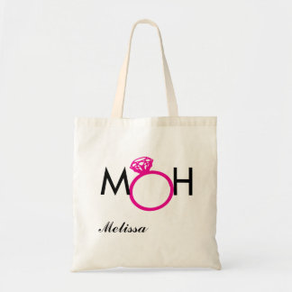 MOH - MAID OF HONOR - PINK RING - NAME TOTE BAG