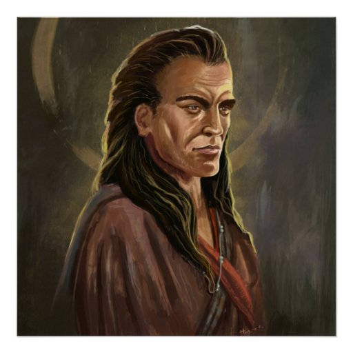 Mohican Warrior Portrait painting poster
