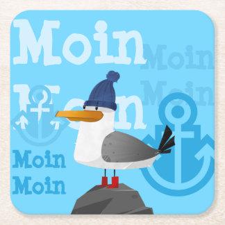 """Moin Moin"" Seagull Square Paper Coaster"