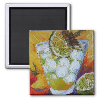 Mojito and Red Chile Pepper Square Magnet