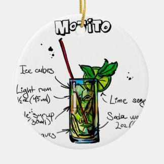 Mojito Cocktail Recipe Round Ceramic Decoration