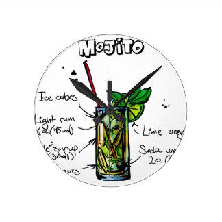 Mojito Cocktail Recipe Round Clock