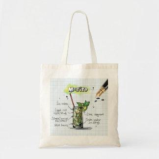 Mojito Recipe - Cocktail Gift 2 Inch Square Magnet Budget Tote Bag