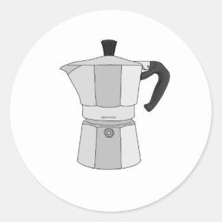 Moka coffee pot round sticker