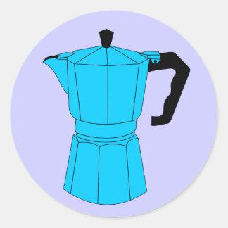 Moka Espresso Coffee Pot Round Sticker