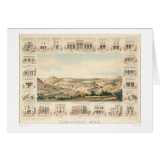 Mokelumne Hill Panoramic Map 1855 (1107A) Greeting Card