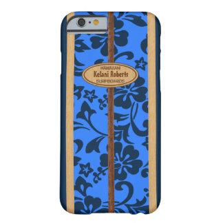 Mokuleia Hawaiian Faux Wood Monogram Surfboard Barely There iPhone 6 Case