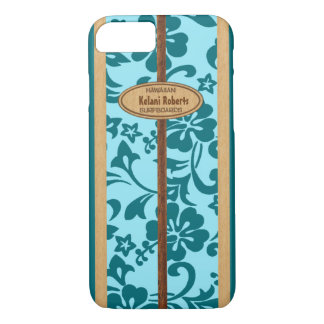 Mokuleia Hawaiian Faux Wood Monogram Surfboard iPhone 8/7 Case